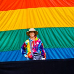Chris Allan with Rainbow Flag during 2011 Gay Pride