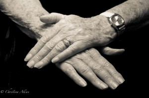my mother's hands, Mother's crossed hands with wedding ring and Parkinson's Disease