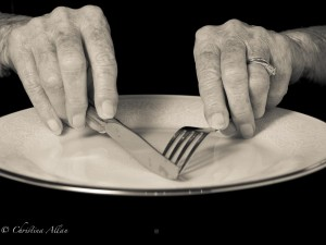 my mother's hands, Mother's eating with knife and fork hands with Parkinson's Disease