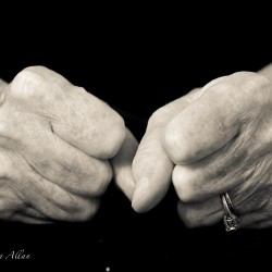 Mother's fist hands with Parkinson's Disease