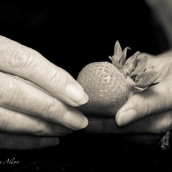 Mother's hands with strawberry and Parkinson's Disease