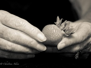 my mother's hands, Mother's hands with strawberry and Parkinson's Disease