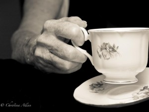 my mother's hands, Tea Drinker Mother's teacup hands with Parkinson's Disease