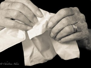 my mother's hands, Mother's using a tissue hands with Parkinson's Disease