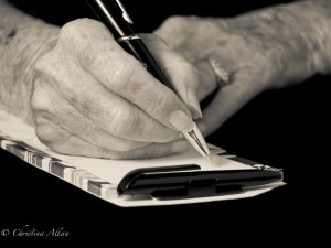 my mother's hands, Mother's writing shopping list hands with Parkinson's Disease