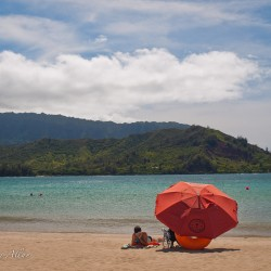 Red Umbrella at Hanalei Bay, Kauai