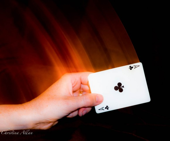 Magic Card Trick, Playing card, rear curtain flash allan creative