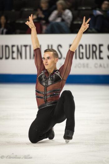 Adam Rippon Celebrates His Short Program