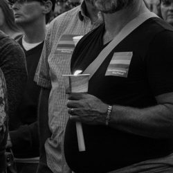 Bearded man orland candlelight vigil sacramento allan black and white