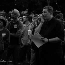 Signer crying orlando candlelight vigil sacramento allan black and white
