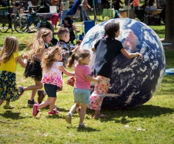 Children with earth ball earth day sacramento southside park allan