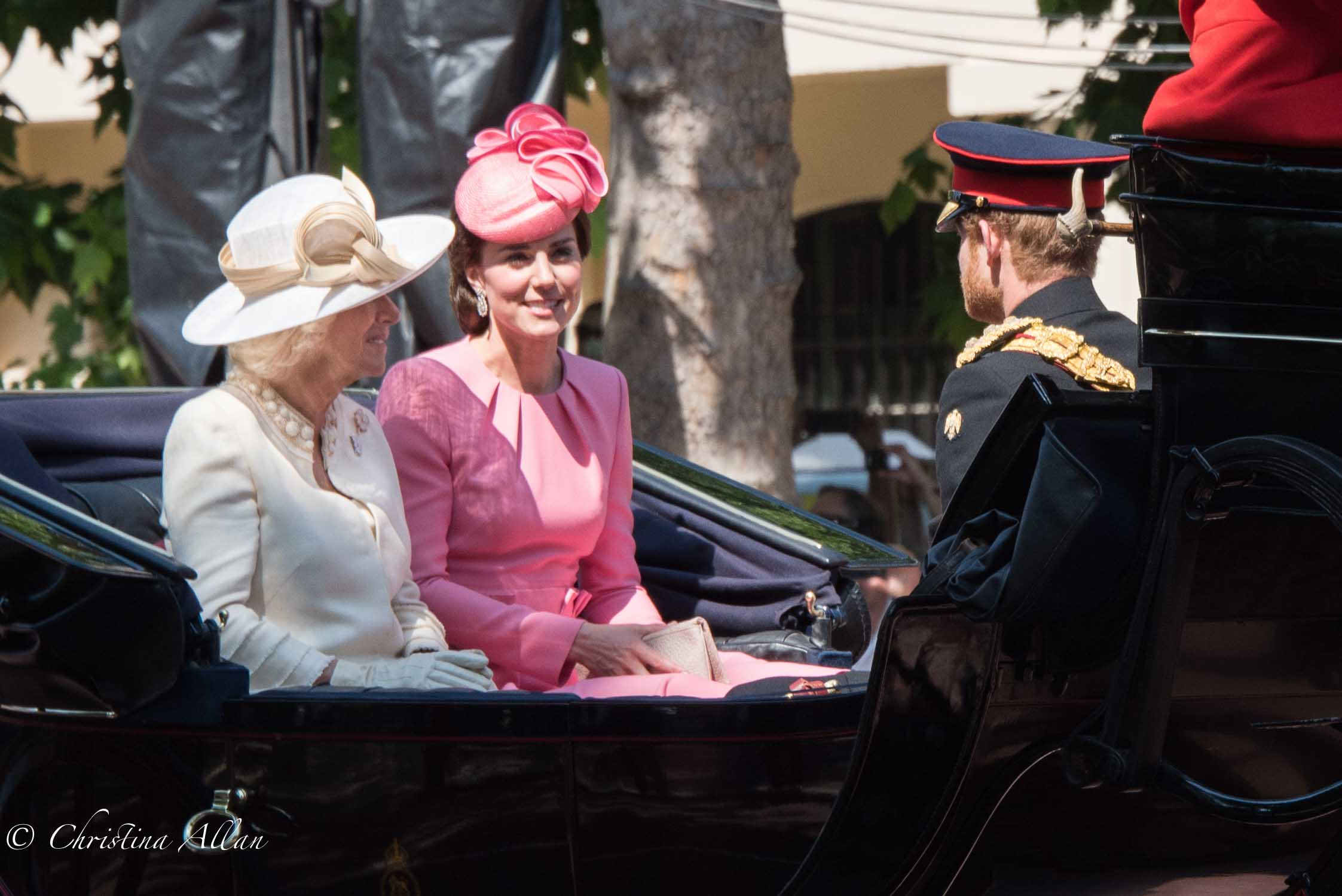 Kate Duchess of Cambridge, Prince Harry of Wales Camilla Duchess of Cornwall in Carriage