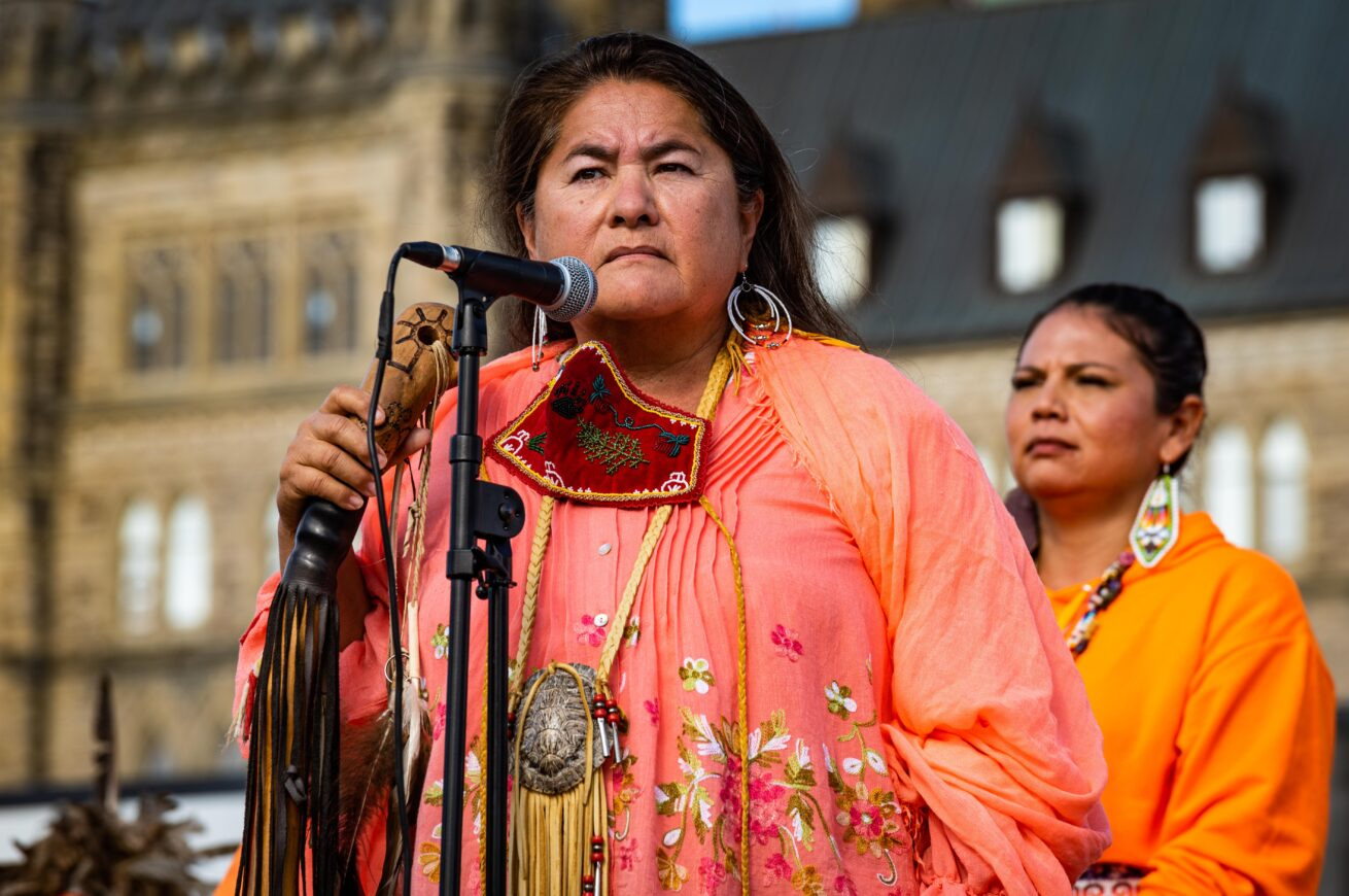 1 Wakerakatste Louise McDonald Herne, a condoled Bear Clan Mother for the Mohawk Nation Council Truth and Reconciliation Day Orange Shirt Ottawa Ontario-1696