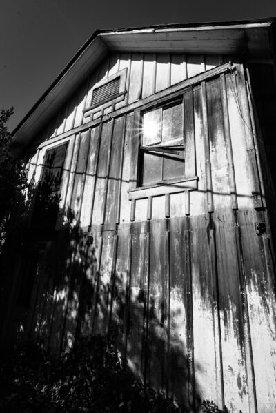 bunkhouse, black and white, sun, window, farm, yolo county, central valley, woodland, california, agriculture, historic