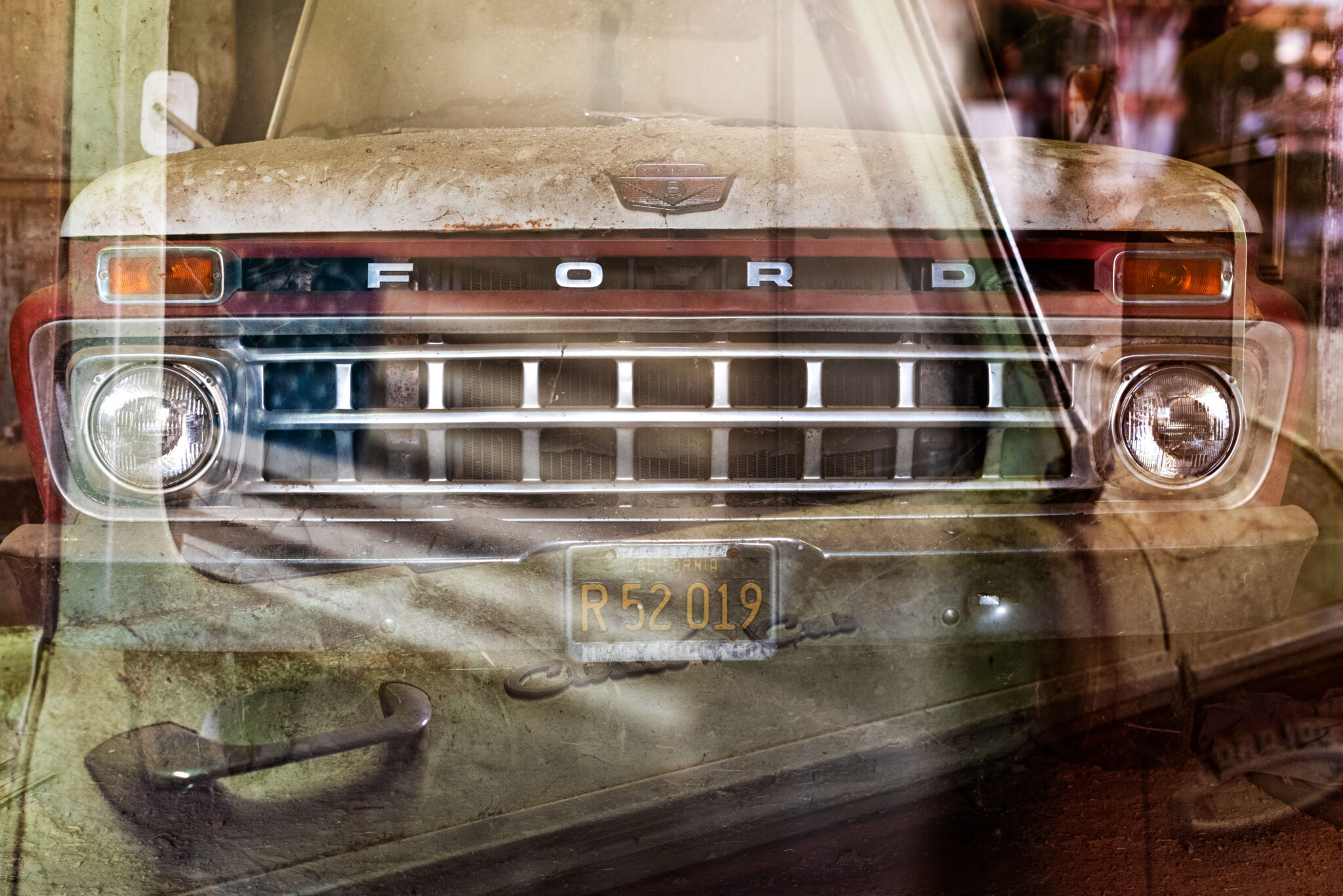 bunkhouse, multiple exposure, ford 100, pickup truck, farm, yolo county, central valley, woodland, california, agriculture, historic, olive farm, barn