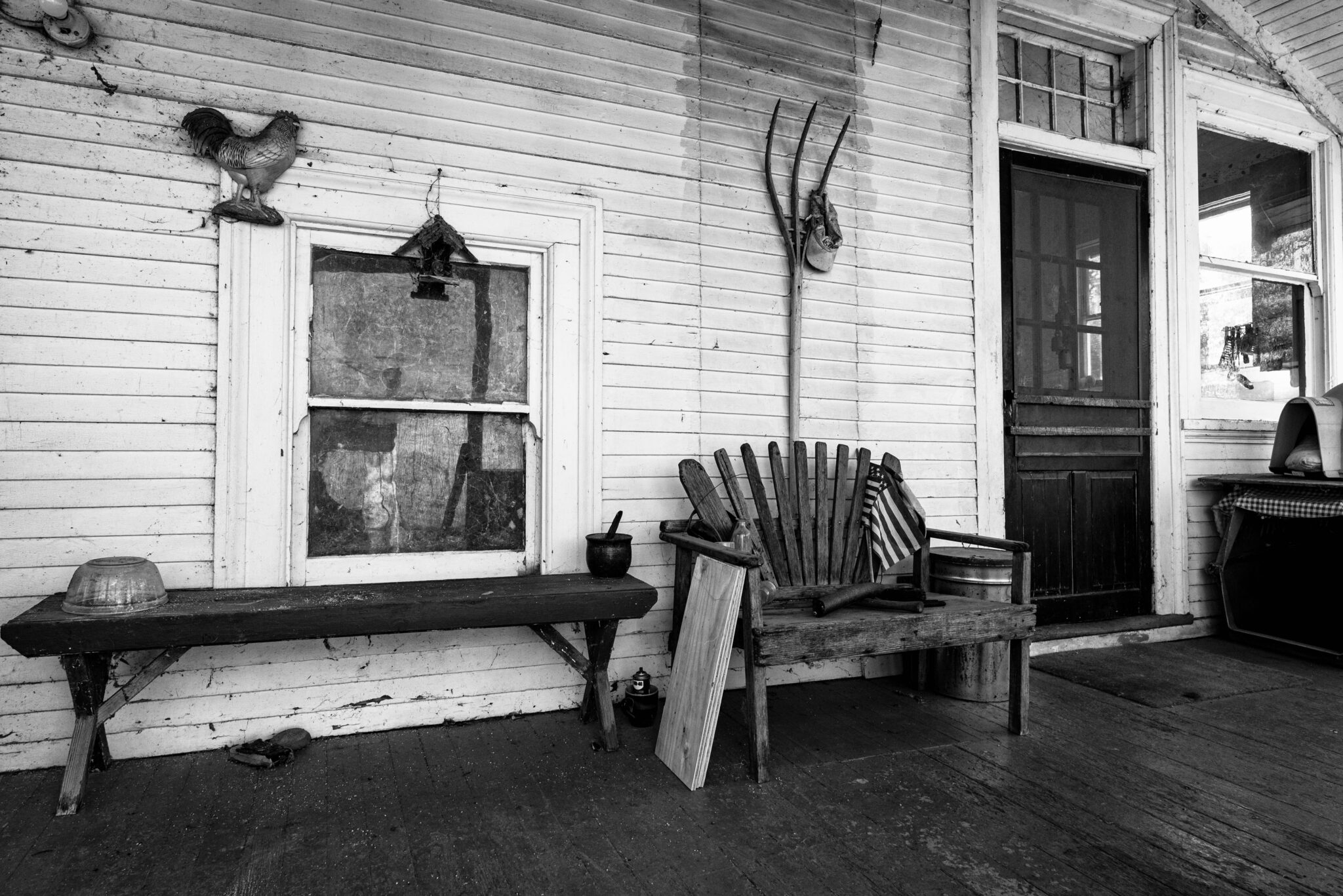 front porch, black and white, sun, window, farm, yolo county, central valley, woodland, california, agriculture, historic, olive farm
