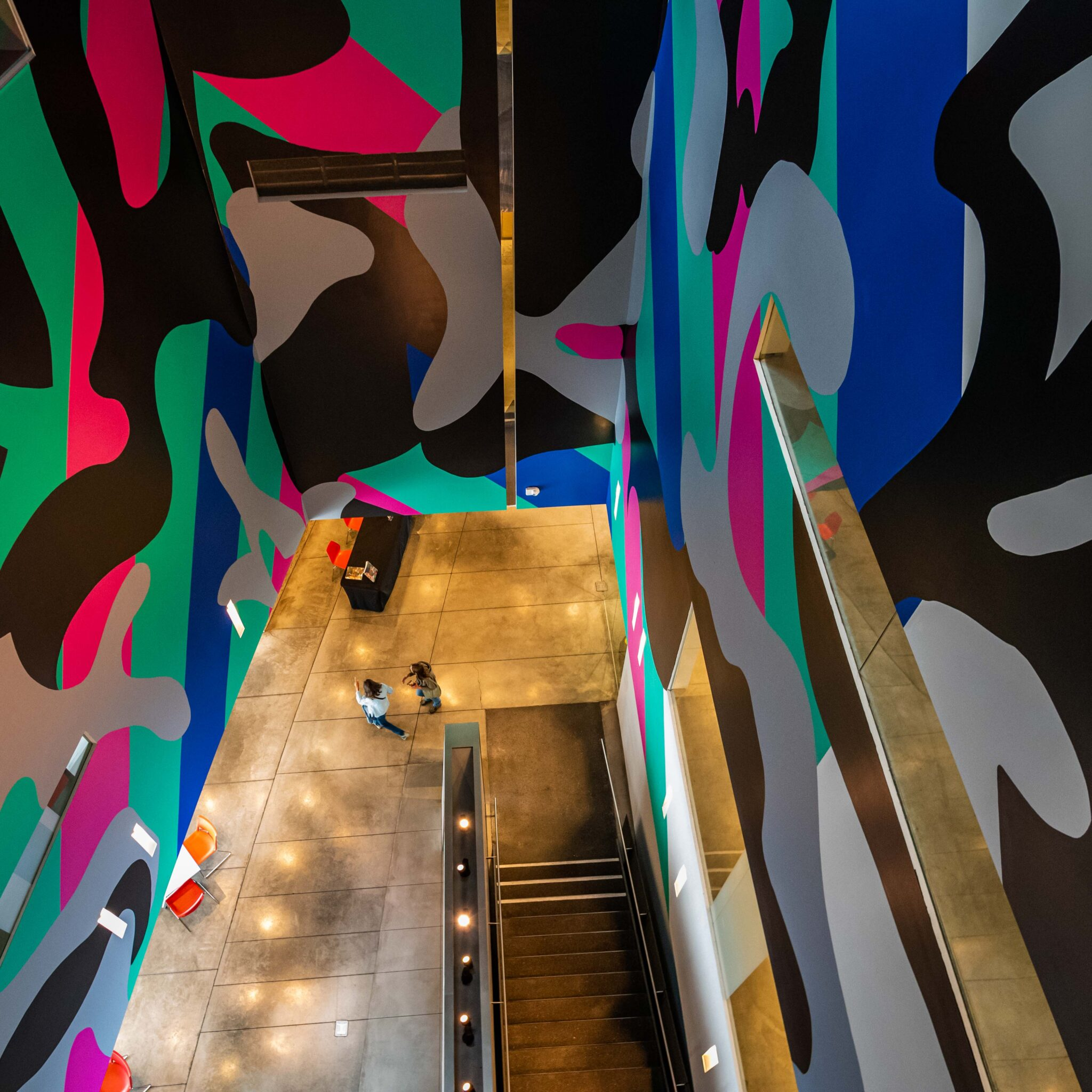 nevada art museum, colorful, pattern, escalator, reno in transition, chris allan, view, perspective, covid transition time for Reno