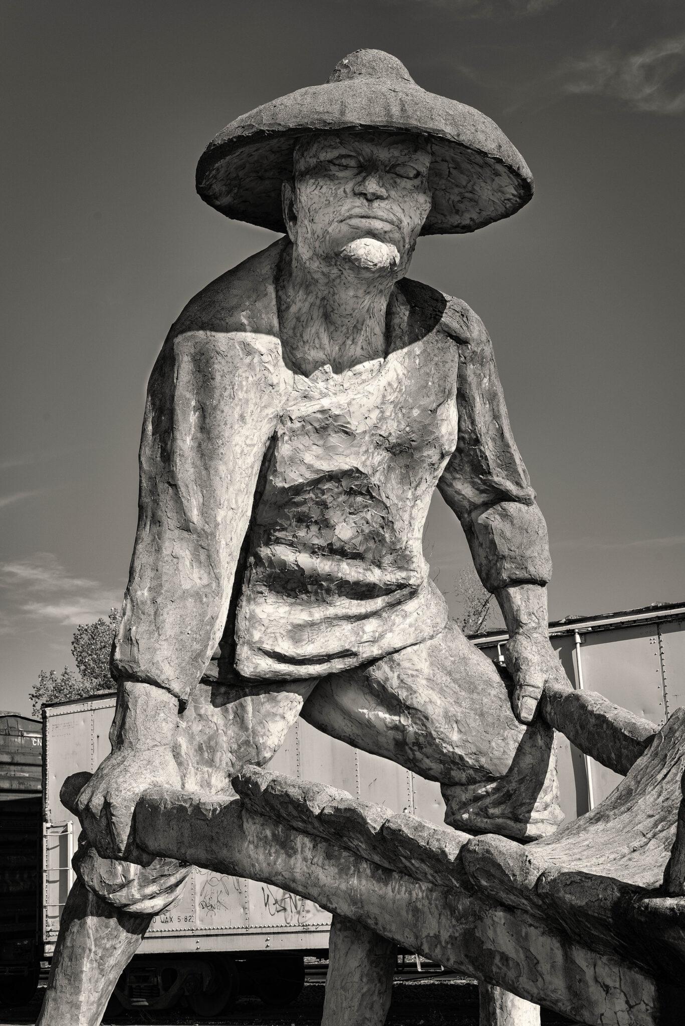 black and white photo chinese laborer auburn california chris allan sunburst public art