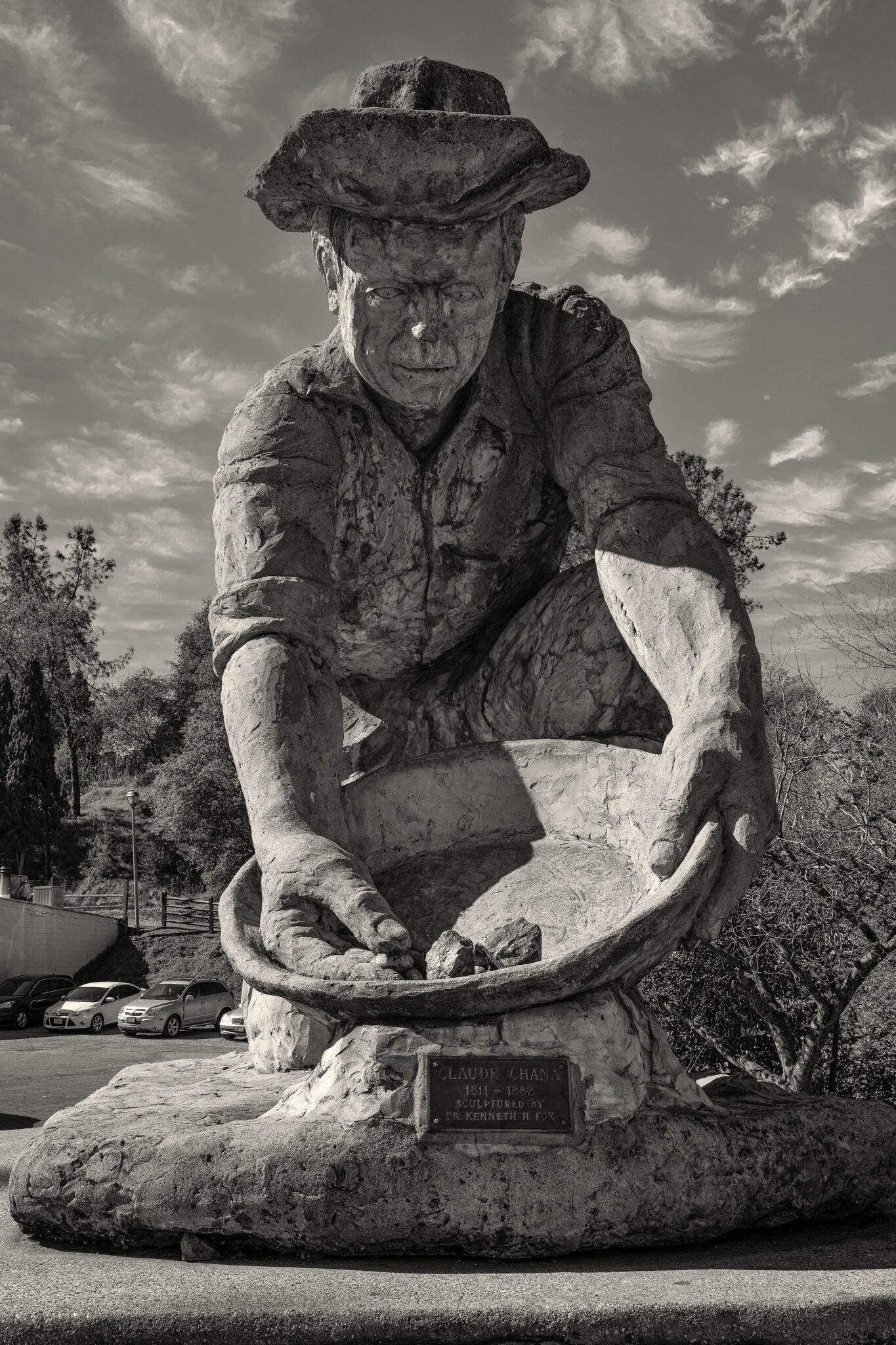 black and white photo ken fox statues claude chana auburn california chris allan sunburst public art