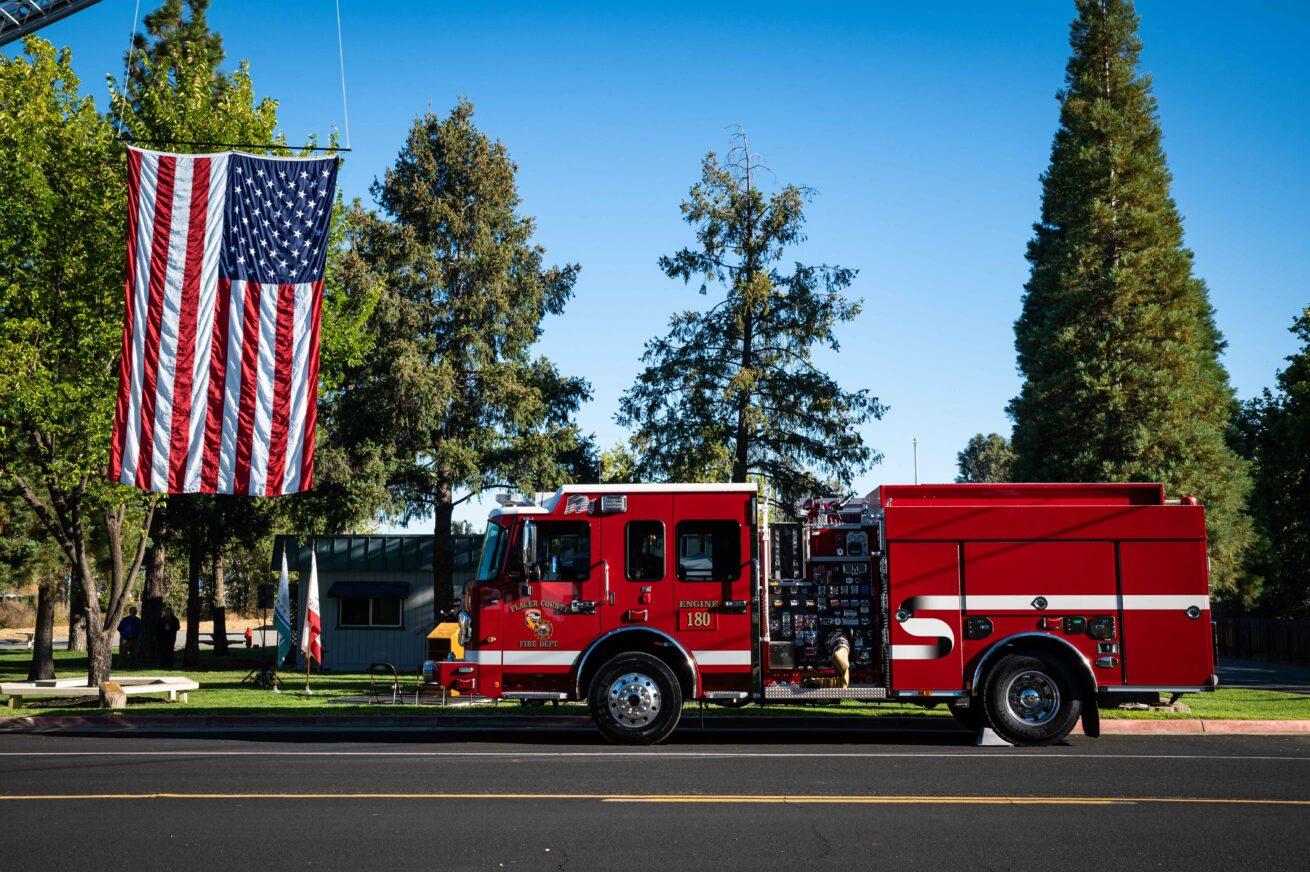 Sept. 11 20th Anniversary fire truck flag