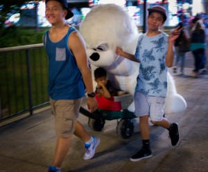 Peace-sign-pulling-wagon-with-large-stuffed-animal
