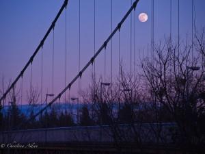 Guy West bridge with moon
