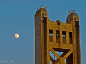 Sacramento Tower Bridge with moon