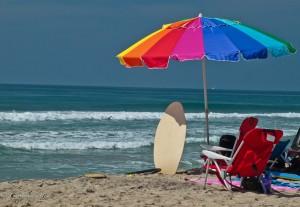 Rainbow Beach Umbrella in Carlsbad