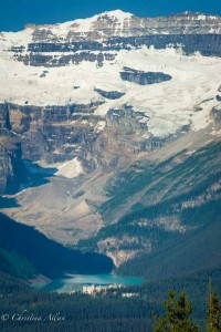 Vertical View of Lake Louise and Victoria Glacier