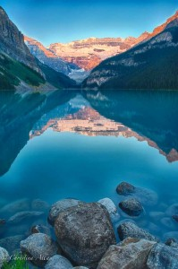 Rocks and Sunrise at Lake Louise