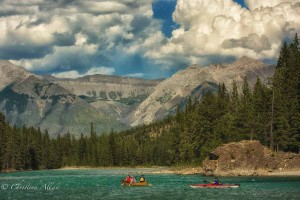 Kayakers in the Bow River