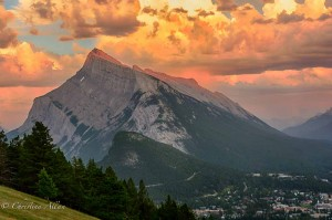 Sunset on Mount Rundle
