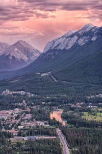 Sunset on Bow River and Banff