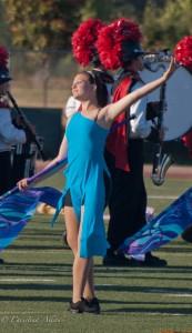 Flag Girl in Blue Dress