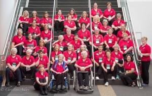 GALA Denver Sacramento women's chorus group photo on stairs