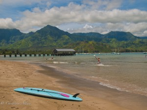 Blue Surfboard at Hanalei Bay