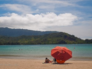 Red Umbrella at Hanalei Bay
