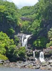 Waterfalls with Bridge at Oheo Gulch