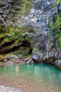 Swimming at Alele Falls