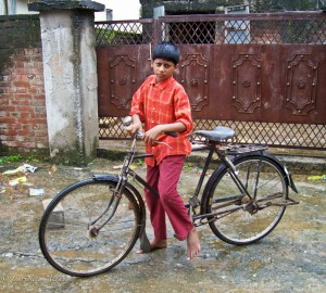 Boy with Bike in Bodhgaya