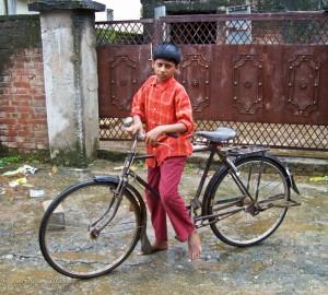 Boy with Bike in Bodhgaya