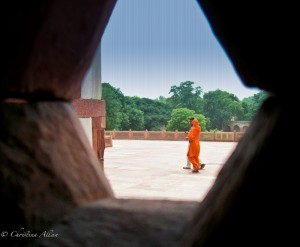 Woman Walking at Humayun's Tomb in Delhi