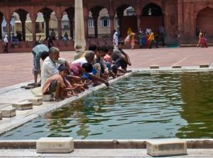 Boys and Men at Jama Masjid in Delhi