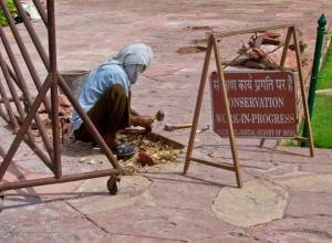Reconstruction Worker at Taj Mahal