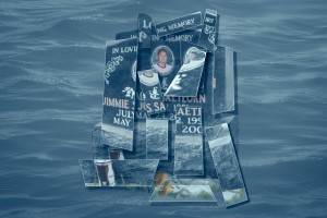 RIP Jimmie gravestone cubist blue Allan water drowning student boy