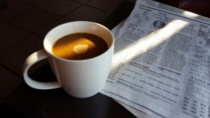 Morning coffee and paper at Starbucks
