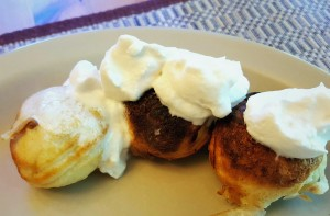 Aebleskivers with maple whipped cream