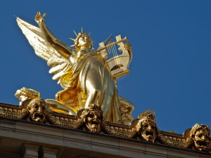 Gold Statue on top of the Acadmy of Music