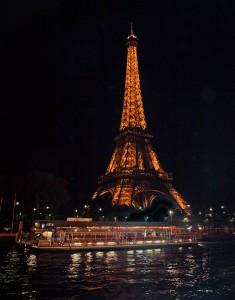 Night Shot of the Eiffel Tower from the Seine