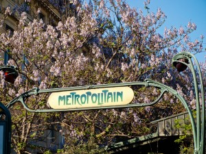 Paris Metro Sign in Spring